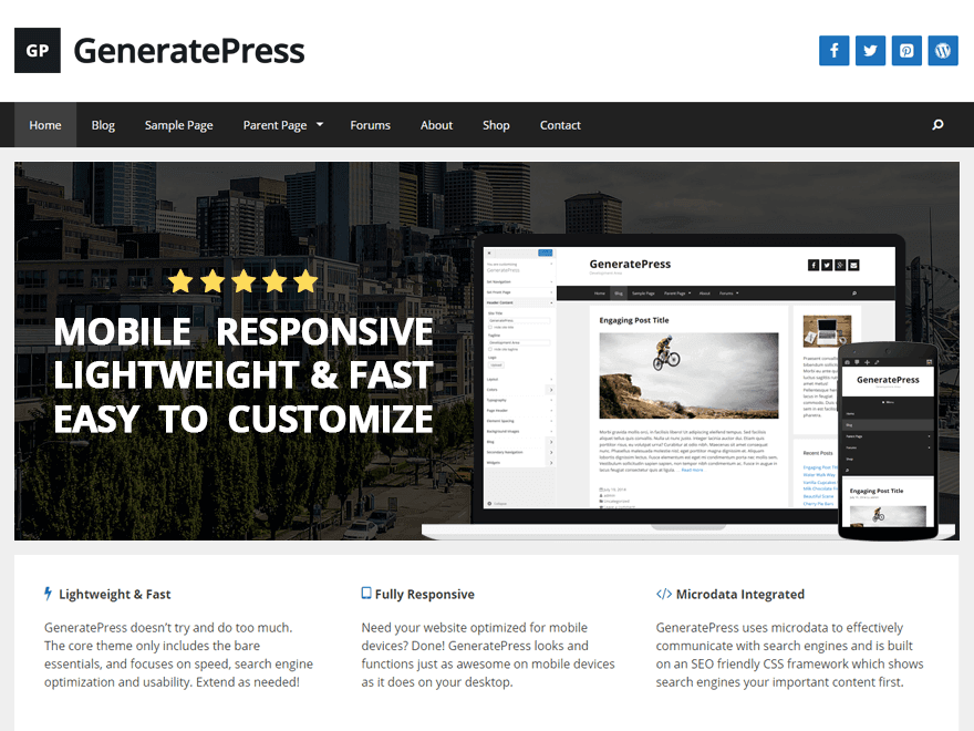 GeneratePress - 50+ Best Free Responsive WordPress Themes 2019