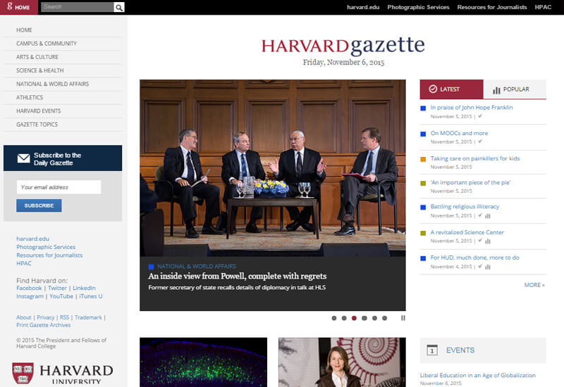 Harvard Gazette - 47 Famous Websites Using WordPress As Their CMS
