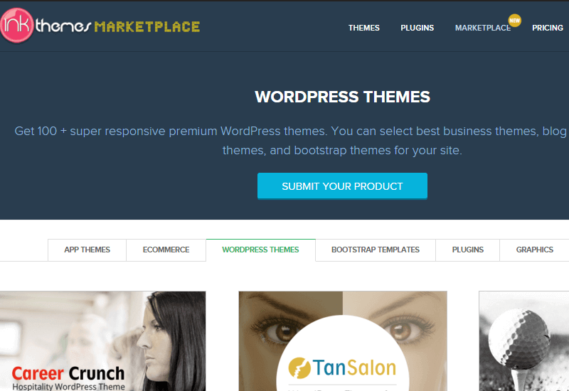 Ink Themes - 25+ Best Marketplaces for Premium WordPress themes and Plugins