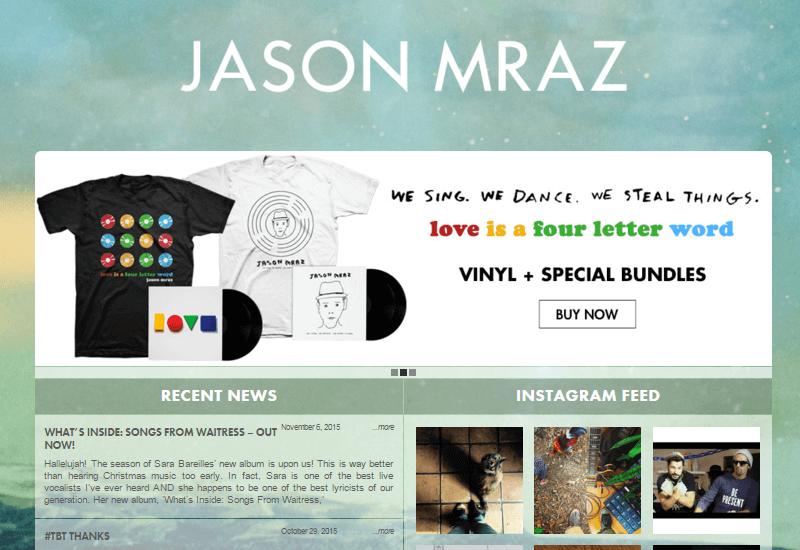 Jason Mraz - 47 Famous Websites Using WordPress As Their CMS