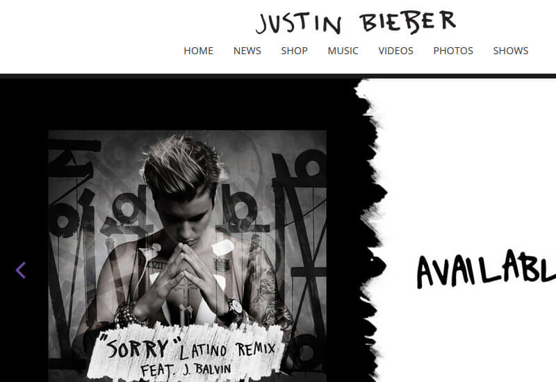 Justin Biber - 47 Famous Websites Using WordPress As Their CMS