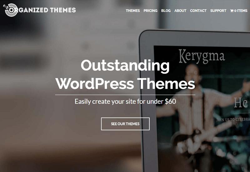 OrganizedThemes - 25+ Best Marketplaces for Premium WordPress themes and Plugins