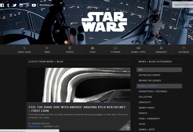 Star Wars News - 47 Famous Websites Using WordPress As Their CMS