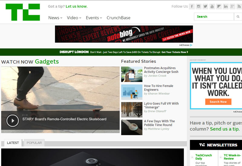 TechCrunch - 47 Famous Websites Using WordPress As Their CMS