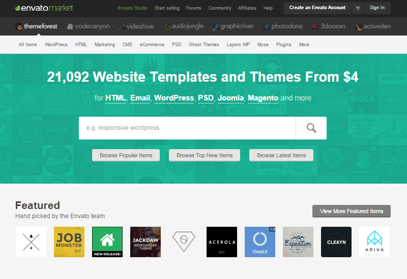 Themeforest - 25+ Best Marketplaces for Premium WordPress themes and Plugins