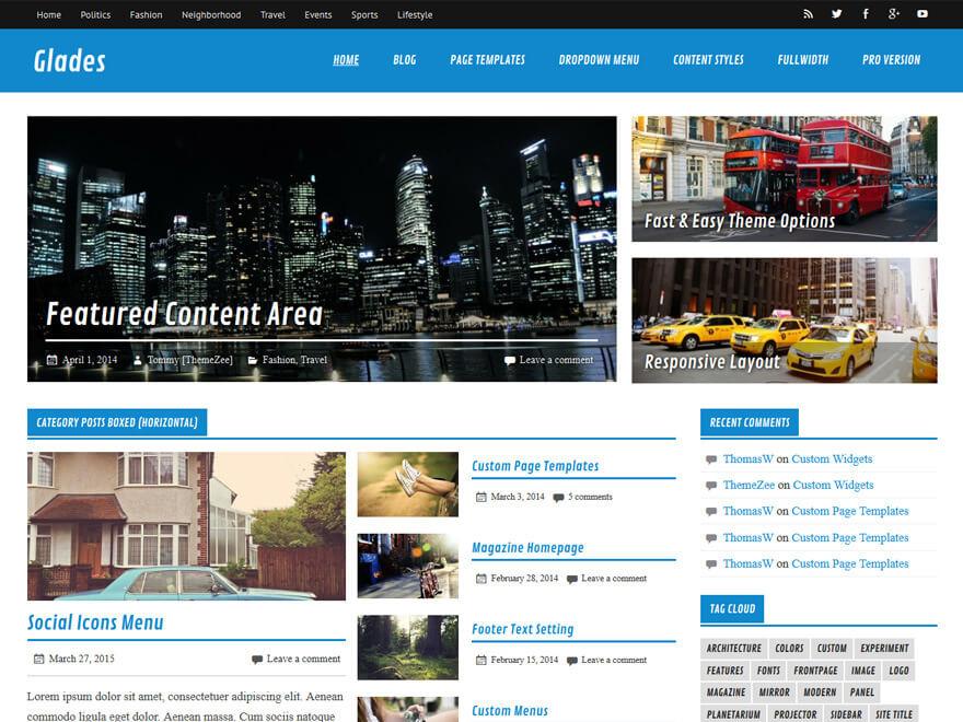 glades - 25+ Best Free Responsive Magazine WordPress Themes 2020