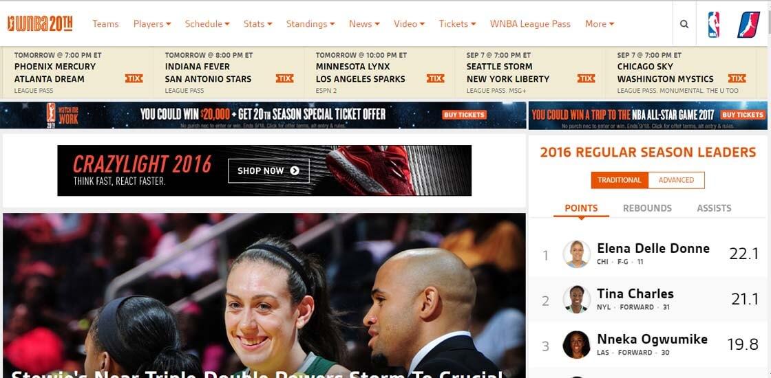 WNBA website - 47 Famous Websites Using WordPress As Their CMS