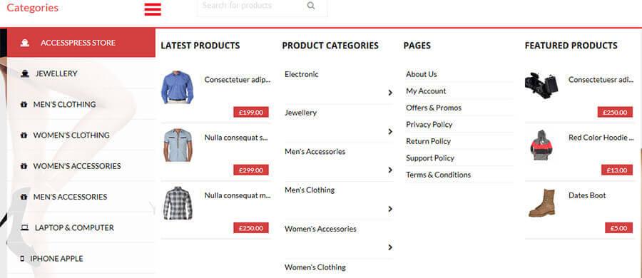 APStore megamenu - AccessPress Store Pro: Perfect WooCommerce WP Theme