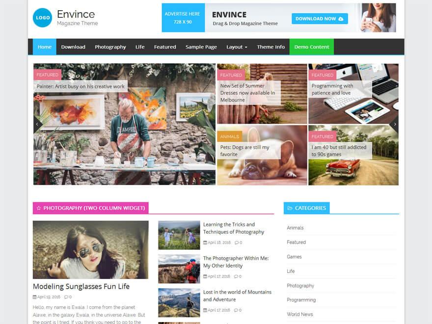 Envice - 25+ Best Free Responsive Magazine WordPress Themes 2020