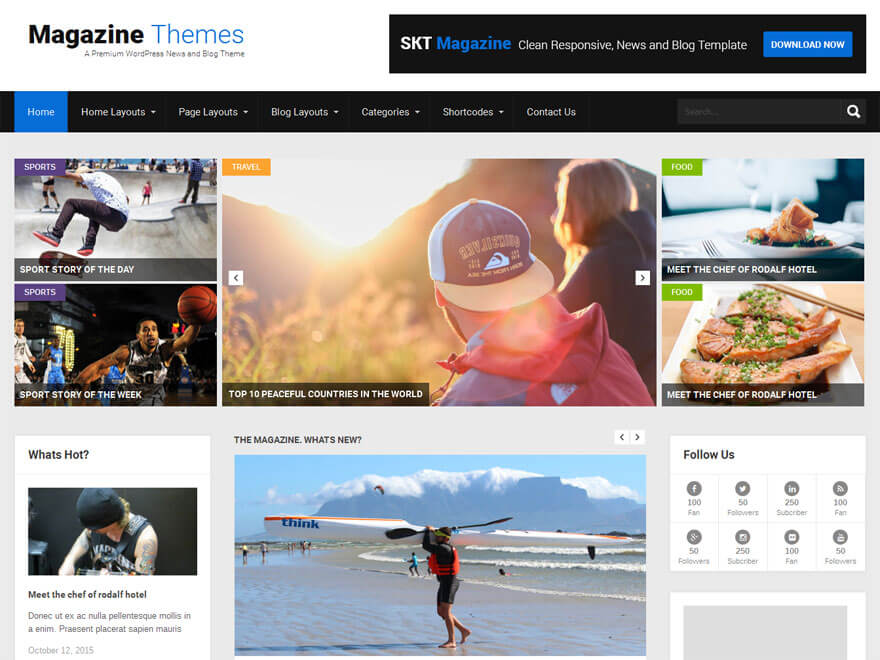 SKT Magazine - 25+ Best Free Responsive Magazine WordPress Themes 2019
