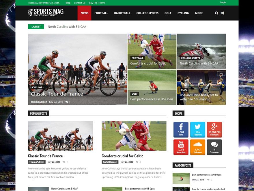 sportsmag - 25+ Best Free Responsive Magazine WordPress Themes 2020