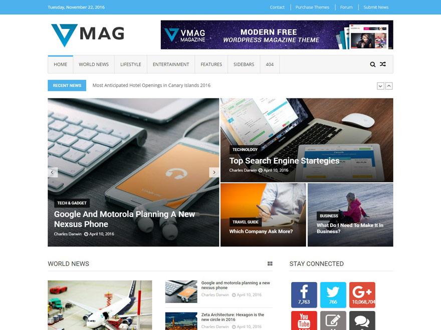 vmag - 25+ Best Free Responsive Magazine WordPress Themes 2020