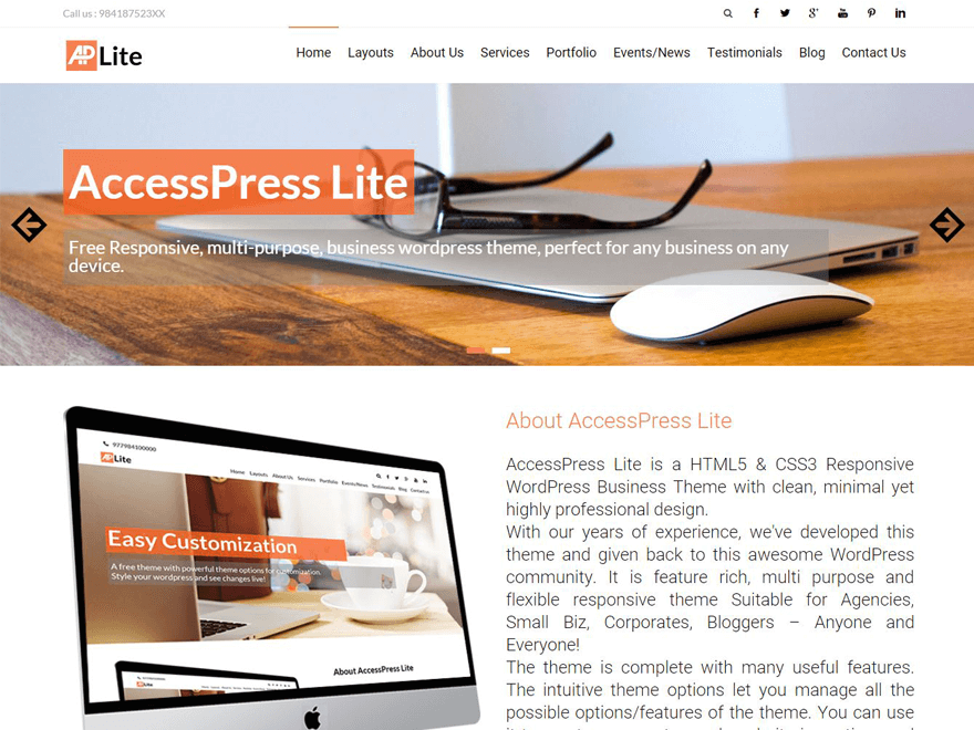 AccessPress lite - 15+ Best Free WordPress Portfolio Themes 2019