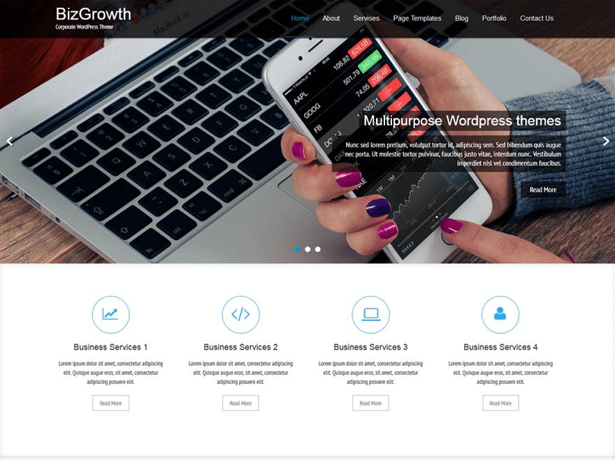 bizgrowth - 11+ Best Free WordPress Themes May 2016 - WPAll Club