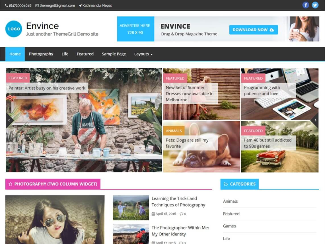 envince - 11+ Best Free WordPress Themes May 2016 - WPAll Club