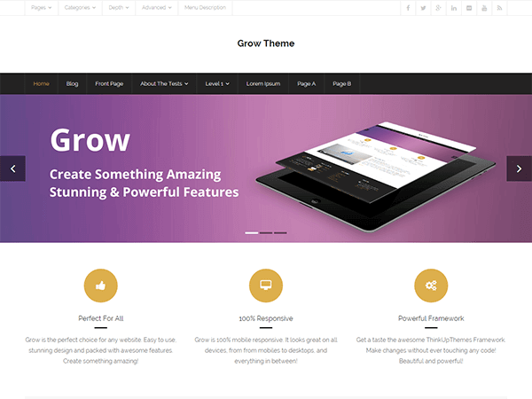 grow 1 - 15+ Best Free WordPress Portfolio Themes 2019