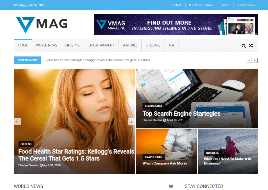 VMag - 11+ Best Free WordPress Themes June 2016 - WPAll Club