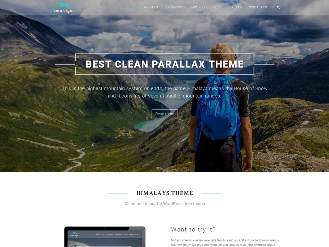Himalayas - 21+ Best Free One Page WordPress Themes and Templates 2020