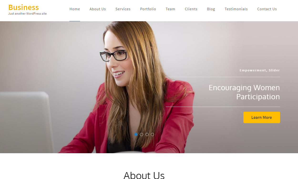 business one page 1 - 21+ Best Free One Page WordPress Themes and Templates 2019