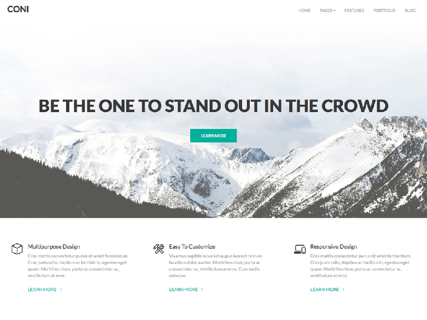 coni - 21+ Best Free One Page WordPress Themes and Templates 2019