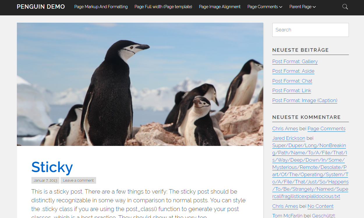 penguin 1 - 21+ Best Free One Page WordPress Themes and Templates 2019