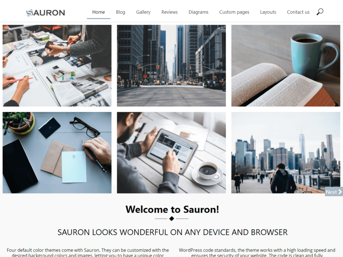 sauron - 21+ Best Free One Page WordPress Themes and Templates 2019