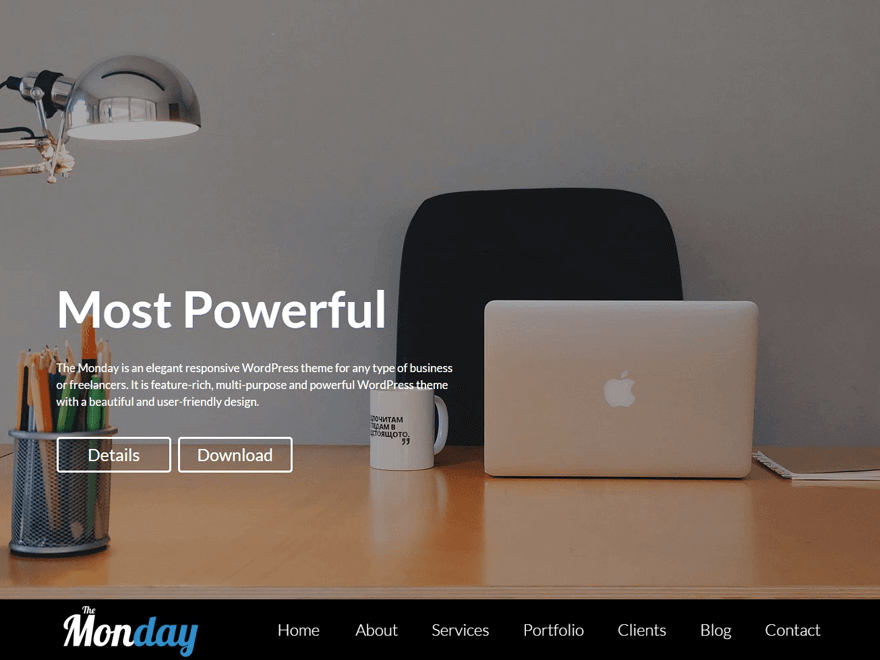 the monday - 21+ Best Free One Page WordPress Themes and Templates 2020