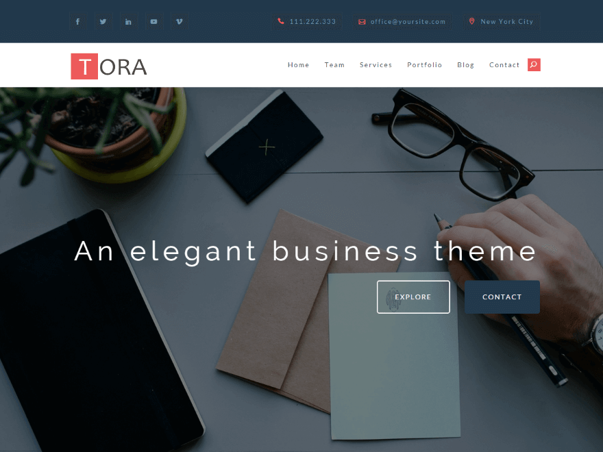 tora - 21+ Best Free One Page WordPress Themes and Templates 2019