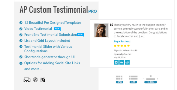AP Custom Testimonial Pro - Premium WordPress Testimonial Plugin