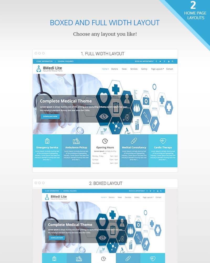 Full width or boxed layout EightMedi Lite - Feature-rich Free Responsive WordPress Health & Medical Theme - EightMedi Lite