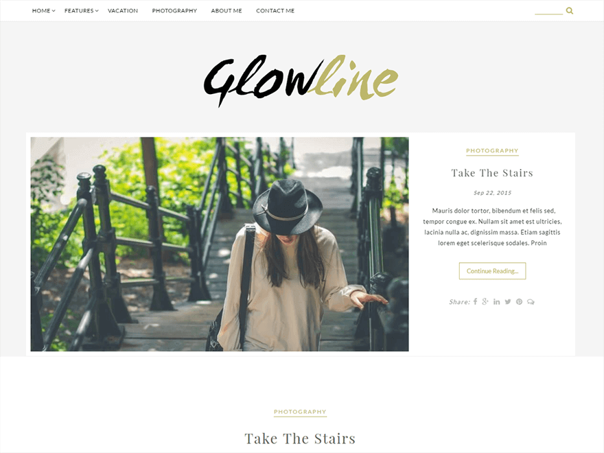 GlowLine 1 - 25+ Best Free Photography WordPress Themes & Templates 2020