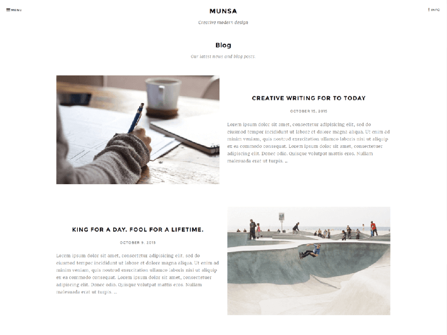 Munsa lite - 25+ Best Free Photography WordPress Themes & Templates 2020