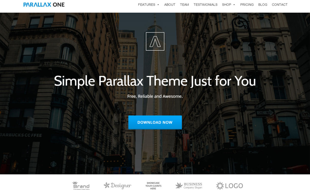 ParallaxOne - 25+ Best Free WordPress One Page Themes for 2019