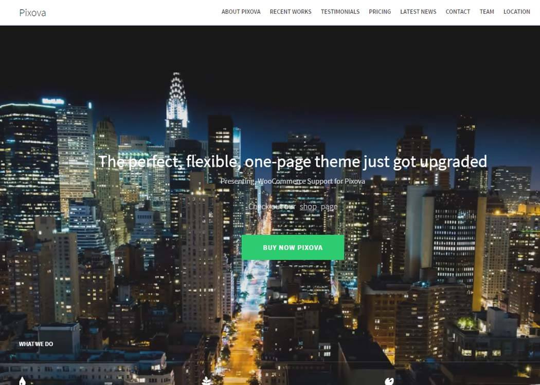 Pixova WordPress One page Theme - 35+ Best Premium WordPress Themes and Templates 2019 [UPDATED]