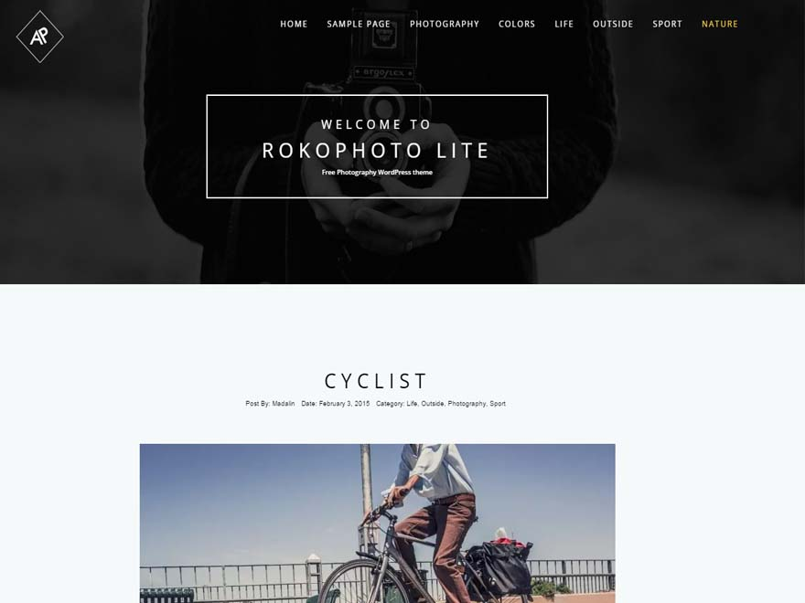 Rokophoto lite Free WordPress Photography Theme - 23+ Best Free Photography WordPress Themes & Templates 2019