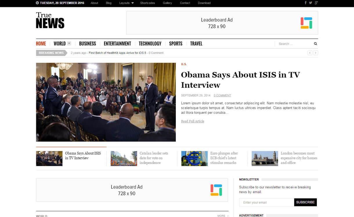 TrueNews - Premium WordPress News/Magazine Theme