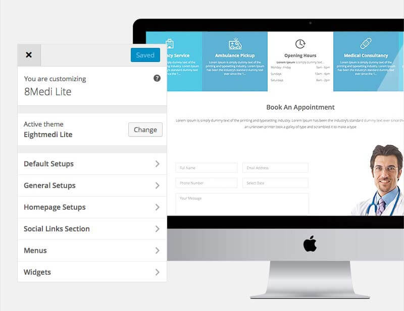WordPress Customizer - EightMedi Lite WP medical theme