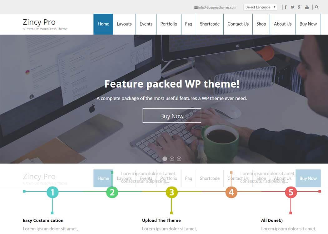 Zincy Pro Feature rich WP Portfolio Theme - 35+ Best Premium WordPress Themes and Templates 2019 [UPDATED]