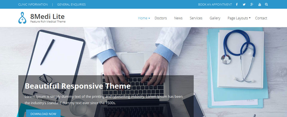 eightmedi lite - 50+ Best Free Responsive WordPress Themes 2019