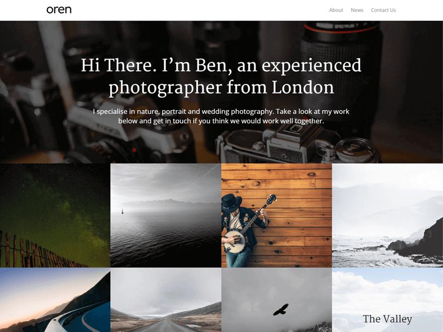 oren - 25+ Best Free Photography WordPress Themes & Templates 2020
