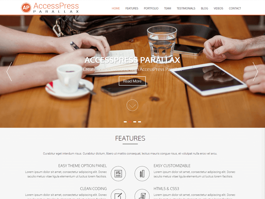 AccessPress Parallax - 30+ Best Free WordPress Landing Page Themes and Templates 2019