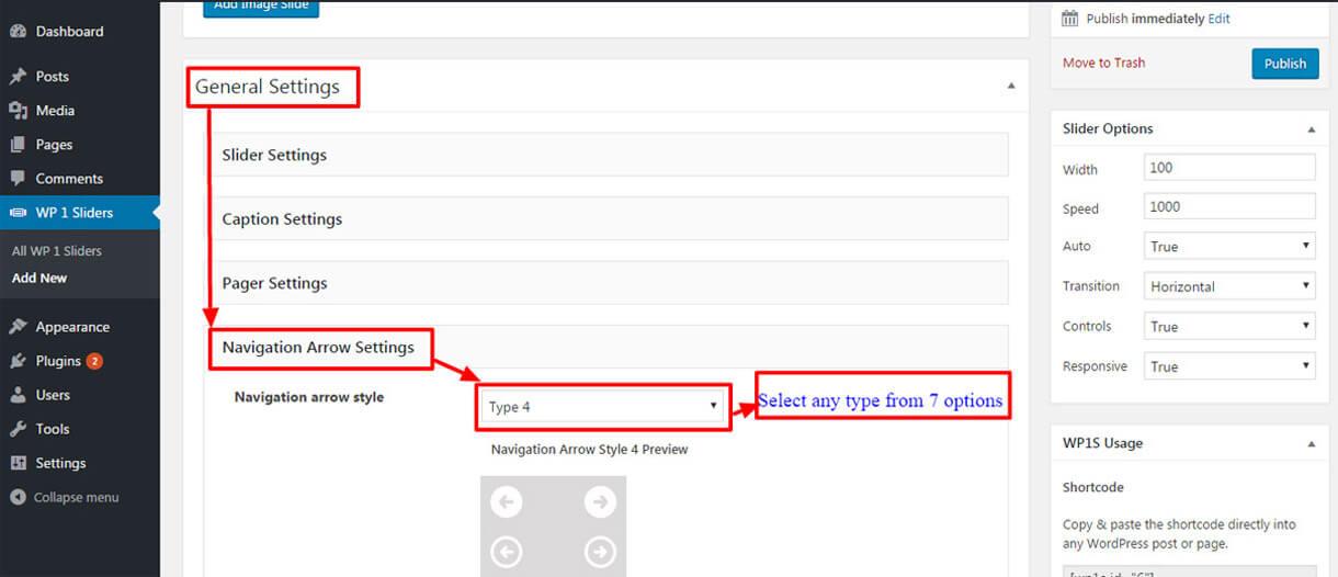 Navigation Arrow Settings - Free WordPress Slider Plugin WP1 Slider