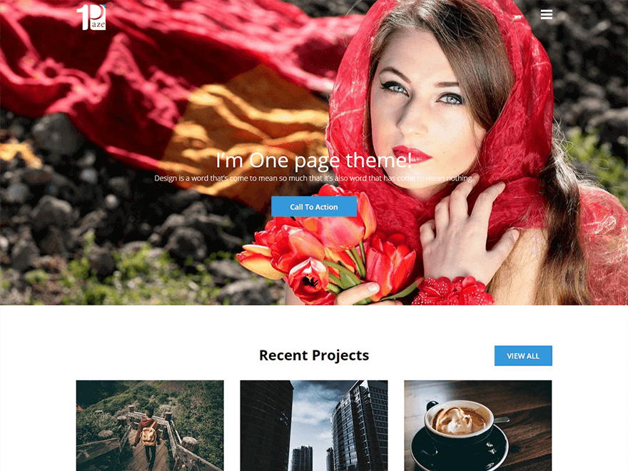 One Paze - 30+ Best Free WordPress Landing Page Themes and Templates 2019