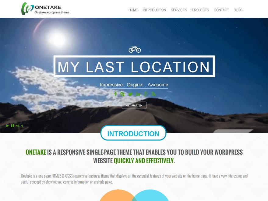 Onetake - 30+ Best Free WordPress Landing Page Themes and Templates 2019