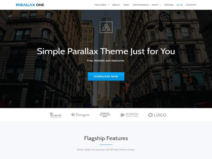 Parallax One - 30+ Best Free WordPress Landing Page Themes and Templates 2019