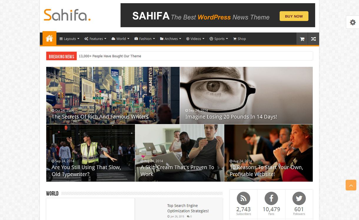 Sahifa - Premium WordPress News/Magazine Theme