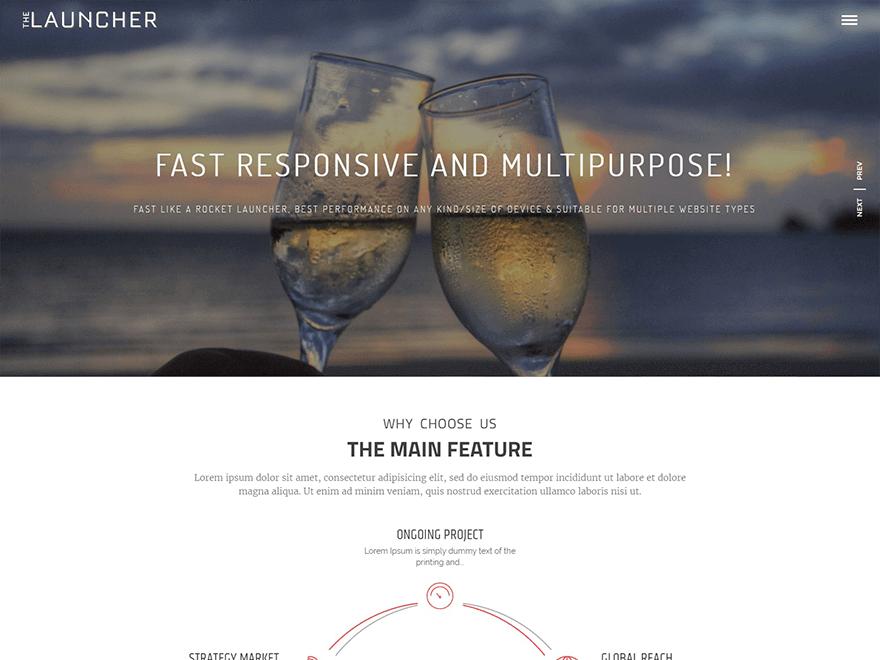 the-launcher free WordPress landing page theme