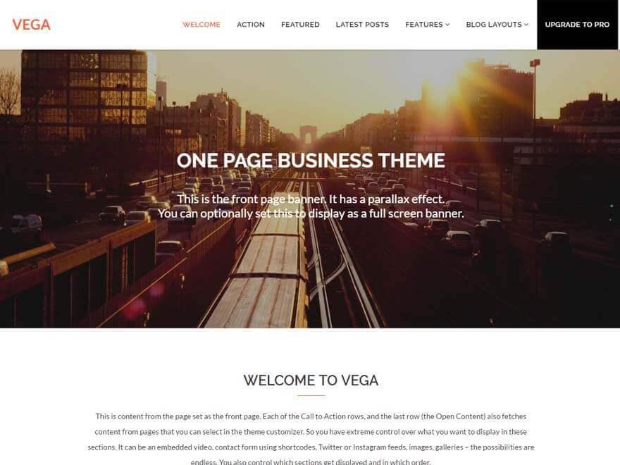 Vega - 30+ Best Free WordPress Landing Page Themes and Templates 2019