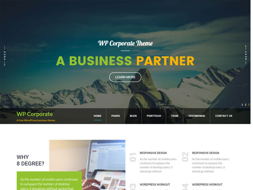WP Corporate 2 - 11+ Best Free Responsive WordPress Themes September 2016