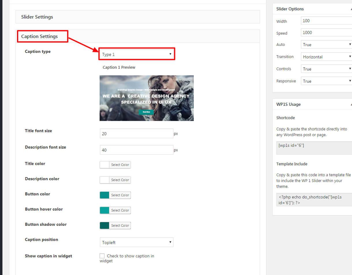 caption setting 1 - Best Free Responsive WordPress Slider Plugin 2019 - WP 1 Slider